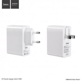 HOCO C1 Tri-USB-Anschlüsse Wand Reise-Ladegerät mit faltbarem US-Stecker