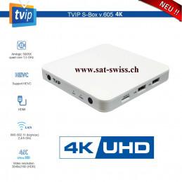 TVIP S-Box v.605 IPTV 4K HEVC HD Multimedia Stalker Streamer weiss